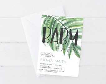 Hand Lettered, Watercolour Fern, Plant, Boho, Nature Theme Baby Shower Invitation
