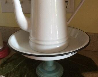 Vintage white and black enamel cake plate stand, repurposed, Farmhouse, fixer upper