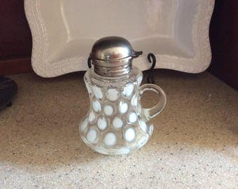 Vintage milk glass syrup, clear with white dots