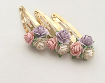 Wedding Flower Hair Clips - Mulberry Flower snap clips - Spring hair bows - fringe clips. Flower Snap Clips