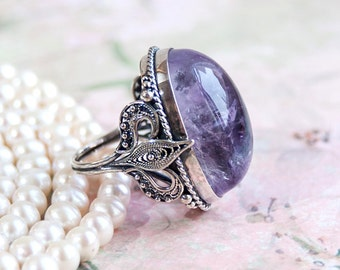 Amethyst Jewelry, Amethyst Ring, Filigree Silver Ring, Transparent Purple Amethyst, Natural HQ Amethyst, Handmade Ring, Sterling Silver Ring