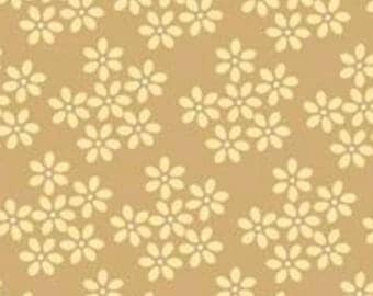 """By The HALF YARD - Shades of Grey by Exclusively Quilters, Pattern #60022-90 Daisy Bunch Sand, Tonal Tan 1/4"""" Small Floral"""