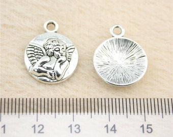 10 Angel Cherub Charms Antique Silver Tone Religious Charms Bracelet Bangle Bracelet Charm Pendants #487