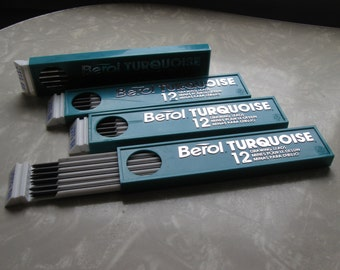 Vintage Berol Turquoise Drawing Leads Lot Of 4 Unused Packs / Drawing Leads 6H 2375