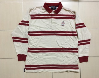 Vintage 90's Chaps By Ralph Lauren Red White Strip Classic Design Skate Sweat Shirt Sweater Varsity Jacket Size L #A544