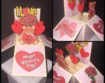 Valentines card, pop up box card, valentines day card