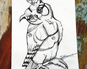 Owl -  Feather - New Home - Contemporary - Native American - Art Therapy - Unique - Mental Health - Black Ink - Wall Art