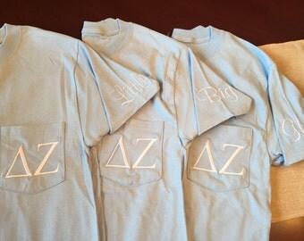 Monogram Sorority Pocket Tee / Monogram Greek Pocket Tee / Greek Short Sleeve Pocket Tee Shirt