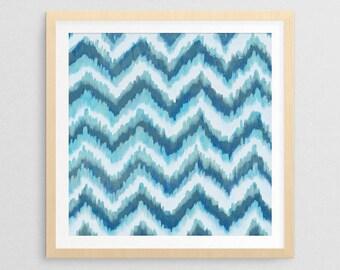 Coastal Blue Ikat I- Coastal Decor- Coastal Gifts- Beach Gifts- Prints for Decor- Beach Art- Coastal Art- Ikat- Pattern