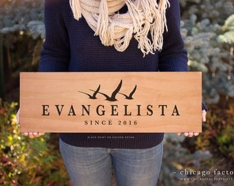 Personalized Wood Sign with Last Name and Established Date, Housewarming Gift, Wedding Gift, Custom Wood Sign, Personalized Gift (GP017)