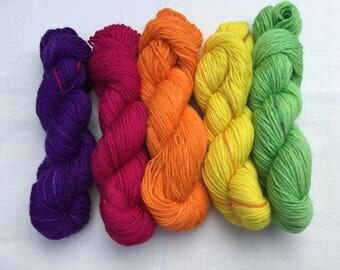 Hand dyed Merino/Nylon mini skeins