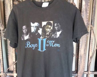 Vintage 90s boys 2 men tour tshirt band/black/large/assembled in mexico