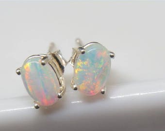 Natural Opal 925 silver earrings