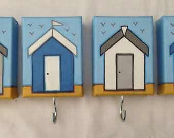 Set of 4 beach hut canvas key hooks