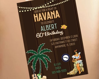HAVANA NIGHTS Party Invitation Qty. 25-100 // Pricing includes