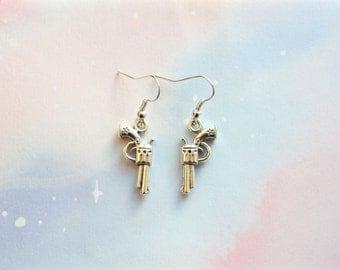 Gun earrings silver plated earrings with gun charms hand gun earrings western earrings cowgirl earrings apocalypse earrings