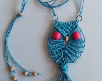 Adore the Cloth: Macrame Owl Necklace Waxed Cotton Teal 1