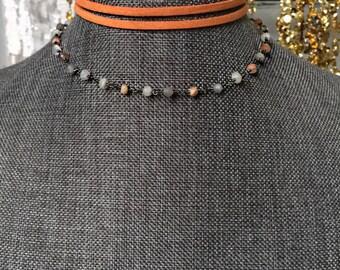 Orange Rosary Choker Necklace