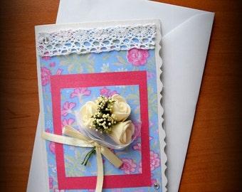 Greeting Card, Pink and Blue Card, Flower Card, Handmade Giftсard