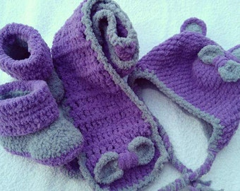 croshet baby set,cap, booties & scarf