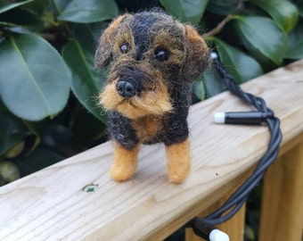 Handmade needle felted wire haired miniature daschund made to order from pictures of your dog.