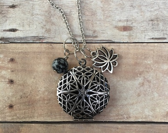 Lotus Flower and Snow Flake Obsidian Essential Oil Diffuser Necklace Essential oil Locket Pendant Necklace long pendant