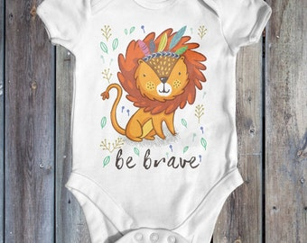 Be Brave Lion Baby Bodysuit | Funny Baby Bodysuit | Cute Baby Clothes | Baby Shower Gift | Animal Baby Bodysuit | Baby Lion | Lion King
