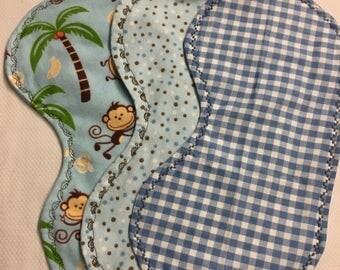 Set of 3 Baby Boy Peanut Shaped Burp Pad,