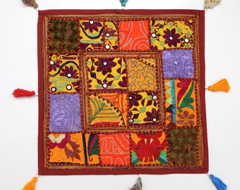 Handmade Hippie Gypsy Home Decor Ethnic Multi color Embroidered Hippy Patchwork Bohemian Pillow Shams Couch Cushion Cover Case G817