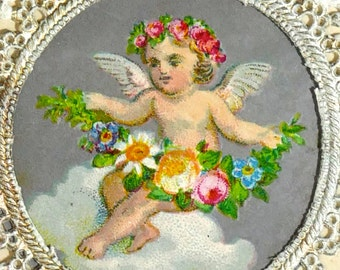 Victorian Valentines day card 1871, mounted