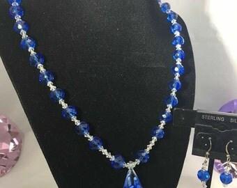 Cobalt Blue  & Clear Swarovski Crystal Necklace Set