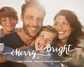 Merry & Bright, Holiday Photo Card, Personalized Card, Custom Holiday Card, Christmas Card