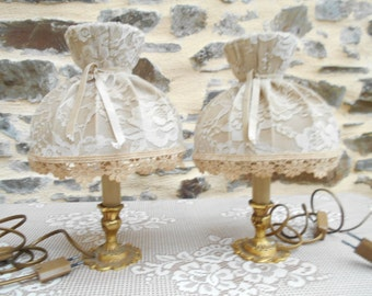 Elegant Pair of Vintage French Candlestick Lamps,