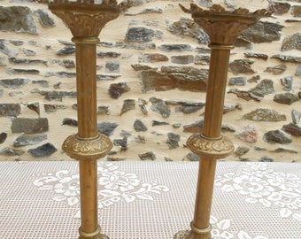 Pair of Vintage French Brass Church/Altar Candlesticks