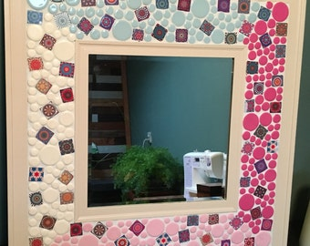 Hand Painted Tile Mirror - 23.5 in. x 23.5 in.