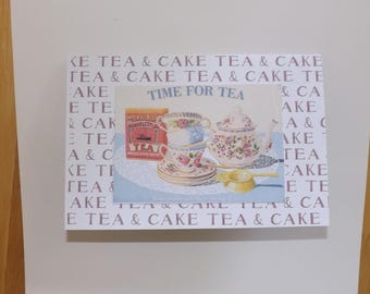 Time for tea. Tea and cake. Every English persons delight. Blank Greetings Card