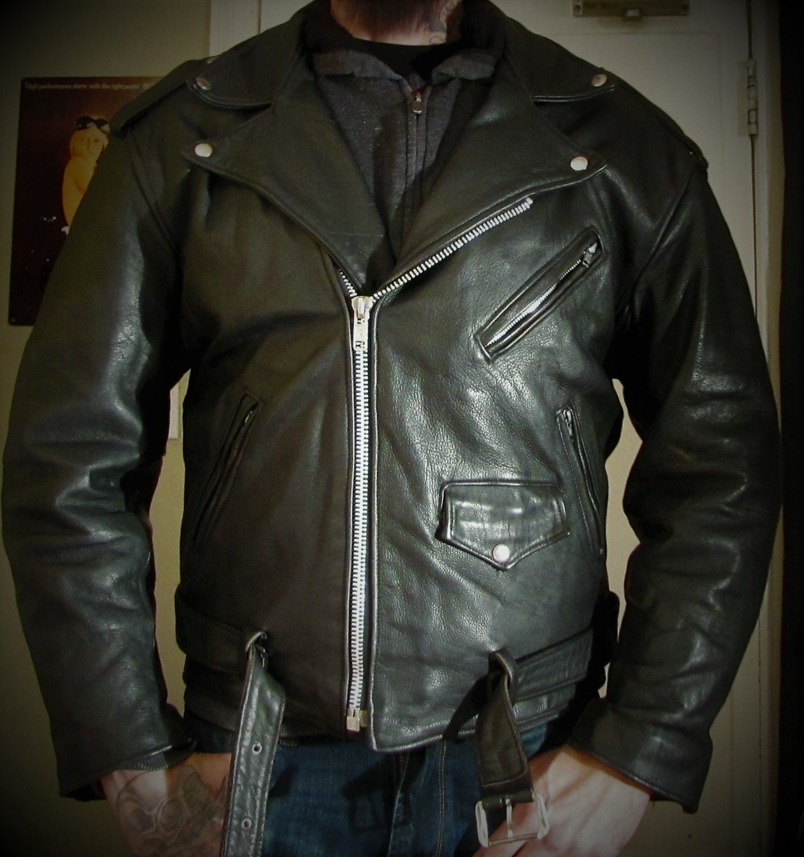 Leather jacket xl size - Black Biker Motorcycle Leather Jacket Size Xl True Vintage Jofama