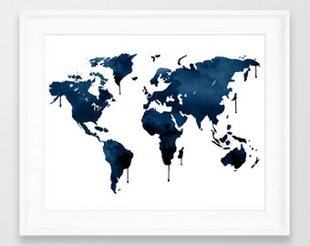 Navy Map, Watercolor Map, Blue World Map, Ocean Print, Navy Wall Art, Office Decor, Travel Art, Sea World Map, Blue Art, Watercolor Blur,