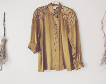 Embroidered 80s brass yellow silk tracksuit