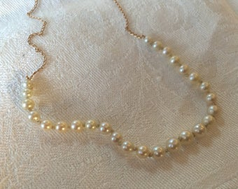 Genuine Cultured Pearl and 14k Gold Choker. Delicate, Beautiful.