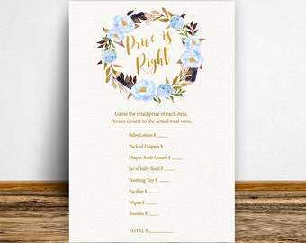 Boho Price is right game, Boy Baby shower games, Baby price is right, Baby shower activities,The price is right, Games printable, Blue-BoHo