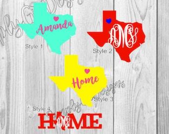 Texas Decal, Texas Monogram Decal, Monogrammed Decals, Texas Yeti Decal, Yeti Cup Decal, Monogram Decals, Texas State decals,State decals