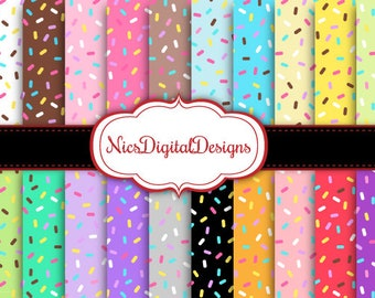 Buy 2 Get 1 Free-20 Digital Papers. Sprinkles in Pretty Colours (13 no 2) for Personal Use and Small Commercial Use Scrapbooking