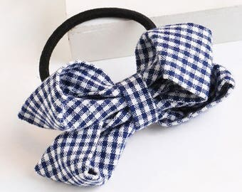 Simple Blue Grid Bow Knot Hair Tie - Trendy Look -