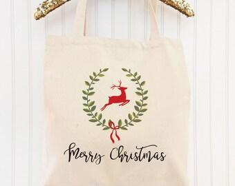 Merry Christmas Reindeer Tote, Christmas Tote Bag, Holiday Tote