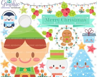 Christmas Clipart, Christmas Graphics, Christmas Clip Art, COMMERCIAL USE, Kawaii Clipart, Planner Accessories, Elf Graphics, Gingerbread