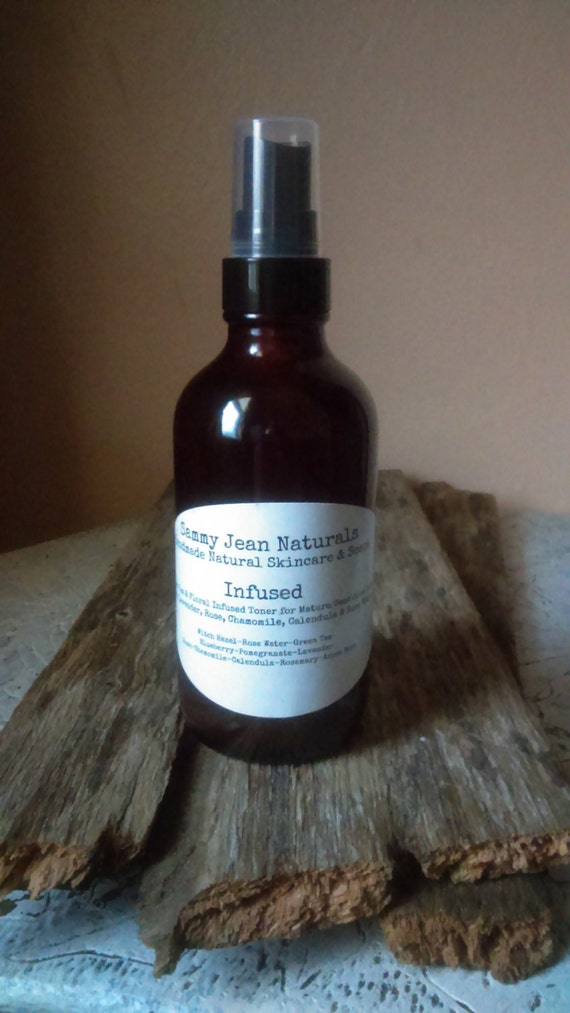 Infused Facial Mist/Mature Skin/Anti-Aging/Hydration/Rose Water/Green Tea/Floral Infused Witch Hazel/Aspen Bark/Pomegrante/Chamomile