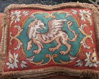 Cushion Kilim knitting optics motifs ancient perfectly unique wool velvet piping cord anno 1900 vintage