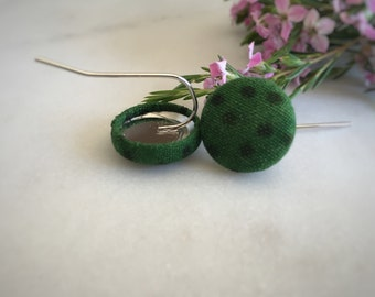 Dark Green Earrings. Green Dot Earrings. Handmade Earrings. Fabric Covered Button Earrings. Stud Earrings. Clip On Earrings. Drop Earrings.
