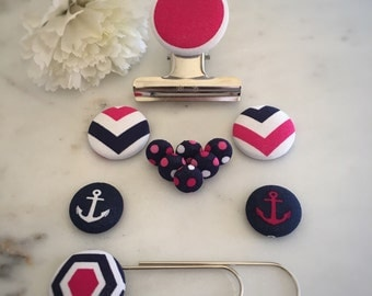 Navy Blue White and Pink Stationery. Hexagon Design Bookmark. Anchor Magnets. Chevron Design Magnets. Spotty Push Pins. Solid Bulldog Clip.